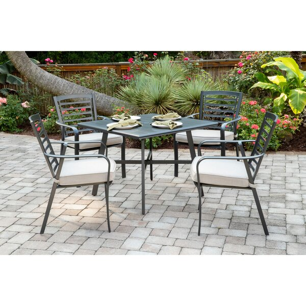 Leeson 5-Piece Commercial-Grade Patio Set With 4 Cushioned Dining Chairs And A 38