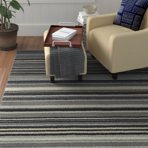 Bradley Gray Stripe Area Rug by Winston Porter