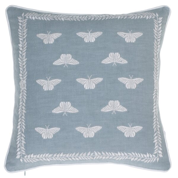 Summertime Meadow Embroidered Throw Pillow by 14 Karat Home Inc.