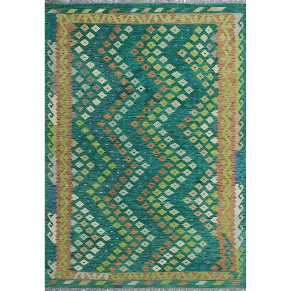 Corda Hand-Knotted Wool Green/Yellow Area Rug by Bungalow Rose