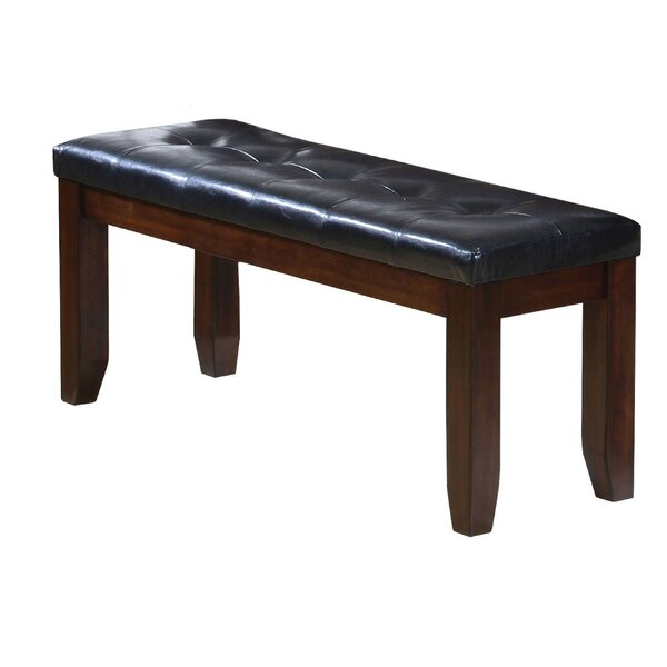Hirano Leather Wooden Bench by Red Barrel Studio