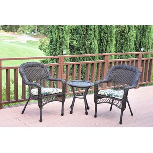 Belwood Resin Wicker 3 Piece Dining Set With Fl Cushions