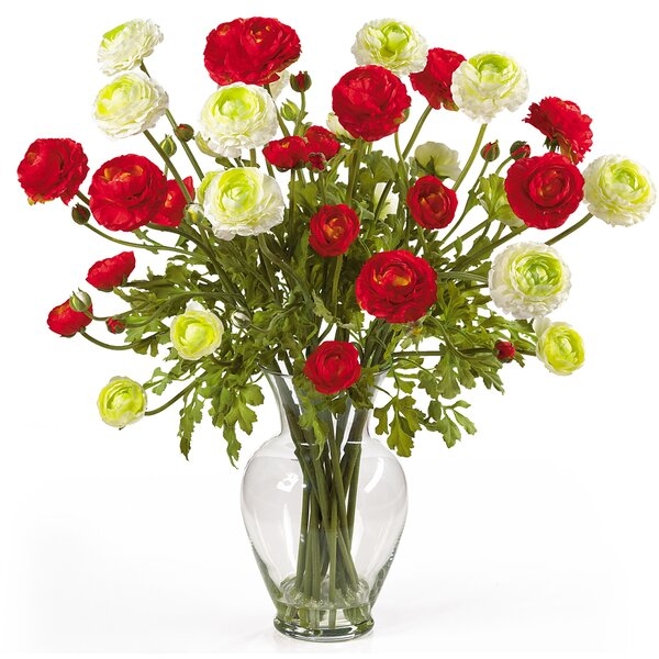 Liquid Illusion Silk Ranunculus Arrangement in Red and White by Nearly Natural