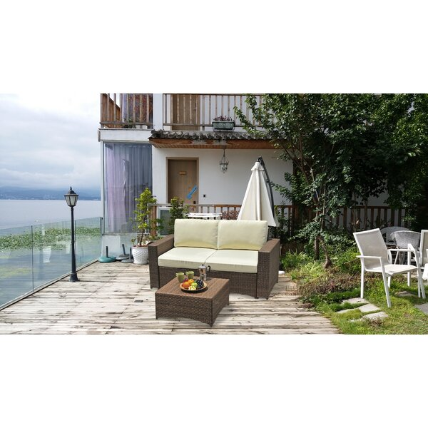 Seamus 2 Piece Rattan Sofa Seating Group with Cushions by Bayou Breeze