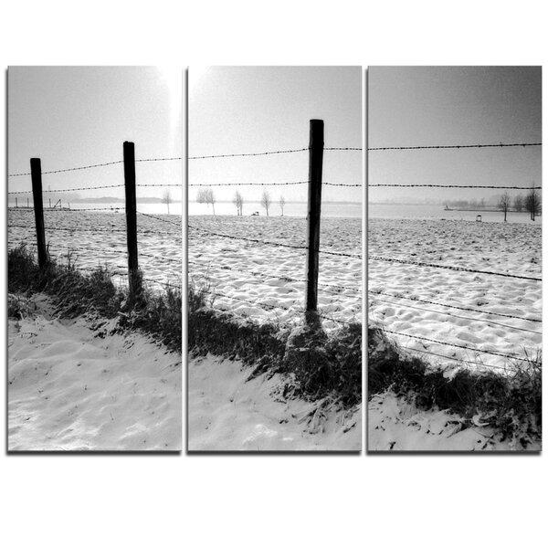 Landscape in Snow with Fence - 3 Piece Canvas Art by Design Art