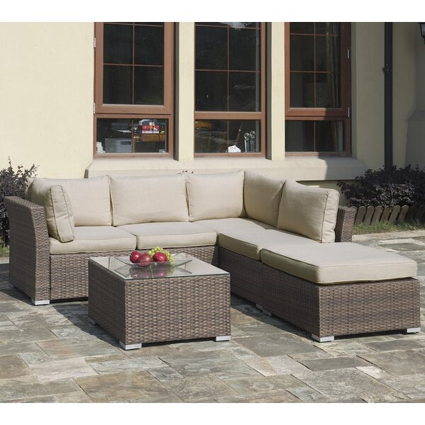 4 Piece Rattan Sectional Seating Group with Cushions by JB Patio