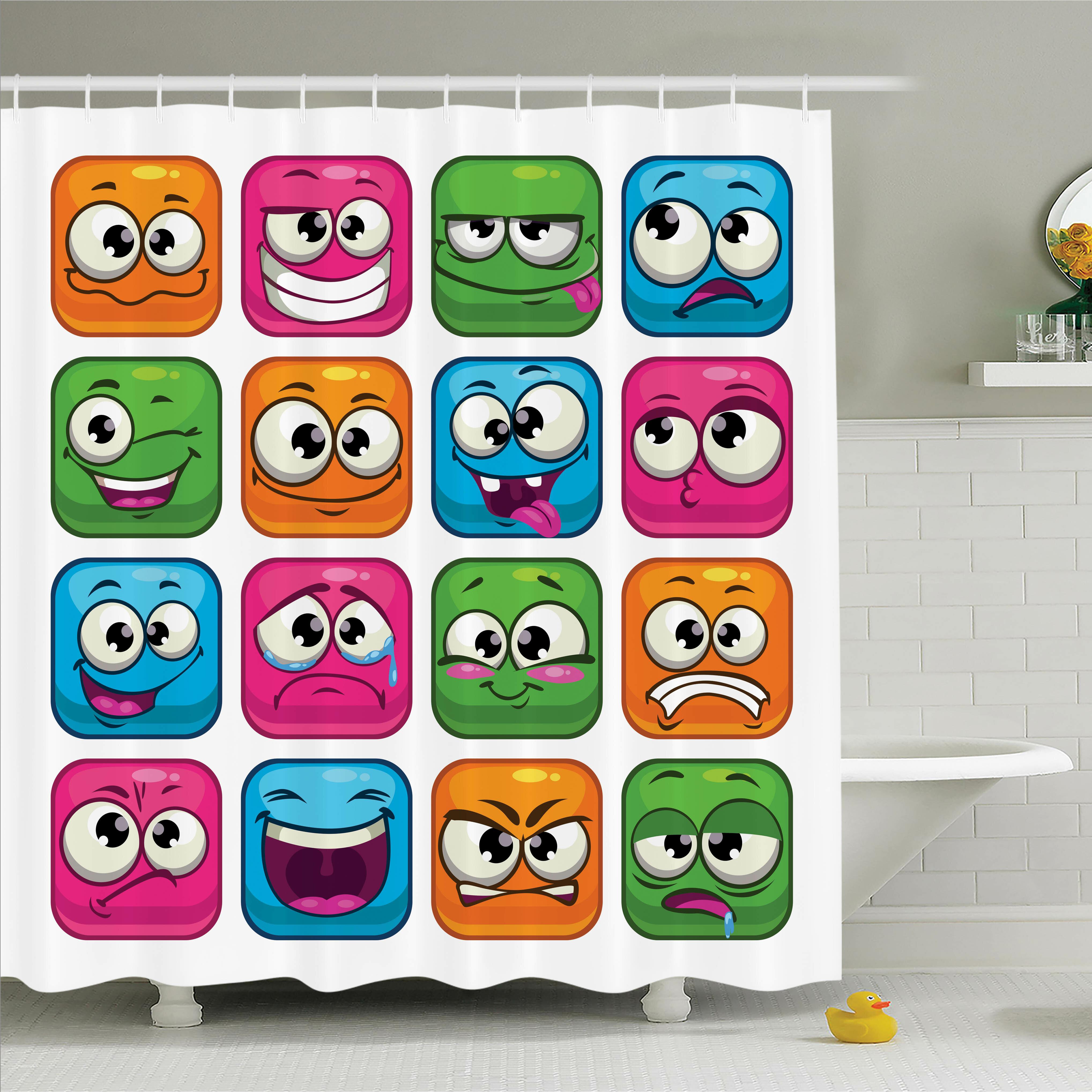 Ambesonne Emoji Cartoon Monsters Comic Shower Curtain Set