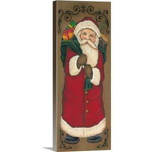 Christmas Art 'Vintage Santa' by Kim Lewis Graphic Art on Wrapped Canvas