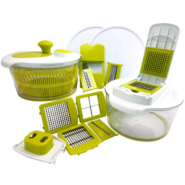 10-Piece Salad Spinning Slicer, Dicer and Chopper Set by Mega Chef