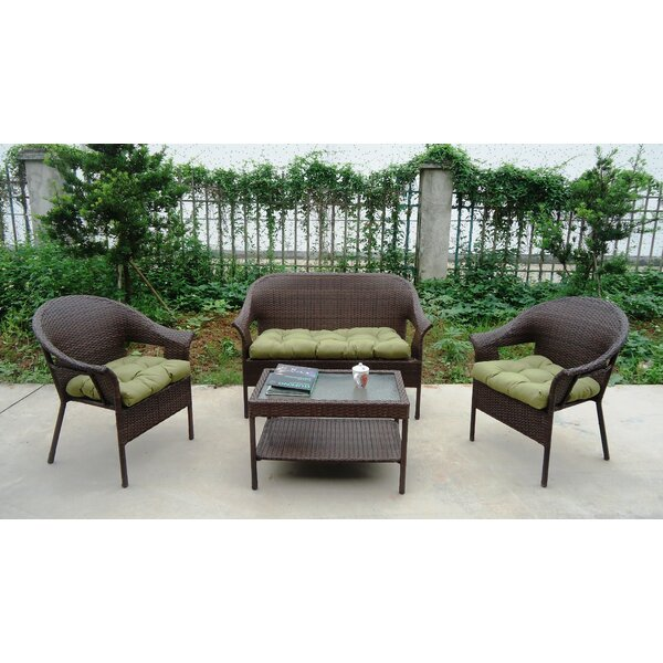 Garden Trellis 4 Piece Sofa Set with Cushions by Winport Industries