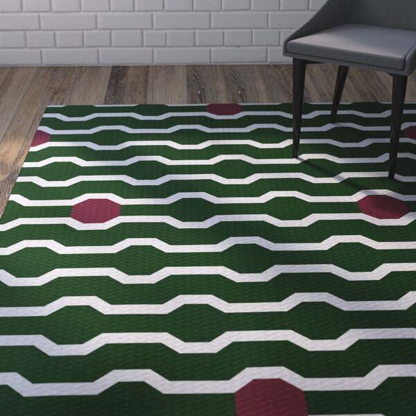 Uresti Decorative Holiday Geometric Print Green Woven Indoor/Outdoor Area Rug by Wrought Studio