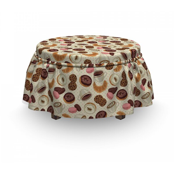Donuts And Coffee Art Ottoman Slipcover (Set Of 2) By East Urban Home