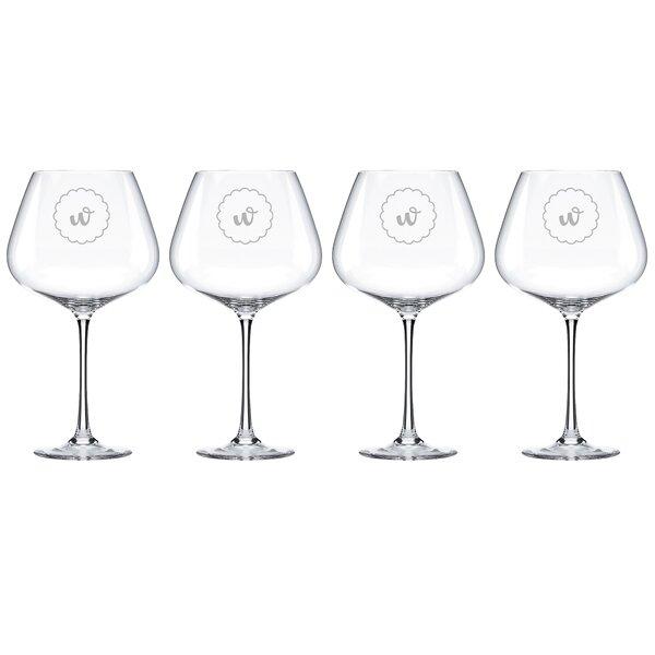 Navy Scallop Tuscany Monogram Burgundy 28 Oz. Red Wine Glass (Set of 4) by Lenox