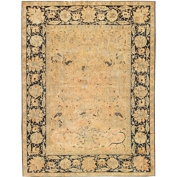 One-of-a-Kind Agra Hand-Knotted 1910s Ivory 12'5 x 16'5 Silk Area Rug