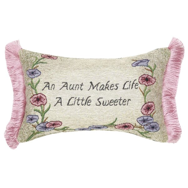Aunt Makes Life Word Lumbar Pillow by Manual Woodworkers & Weavers