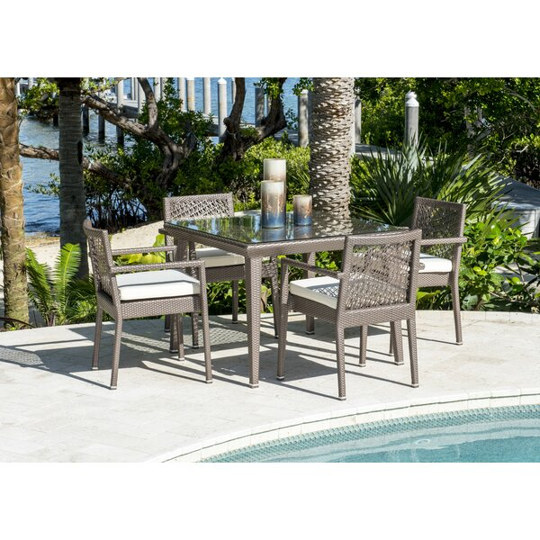 Maldives 5 Piece Dining Set with Sunbrella Cushions by Panama Jack Outdoor
