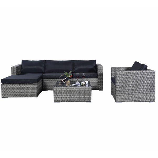 Kandiyohi Patio 6 Piece Rattan Sofa Seating Group with Cushions by Orren Ellis
