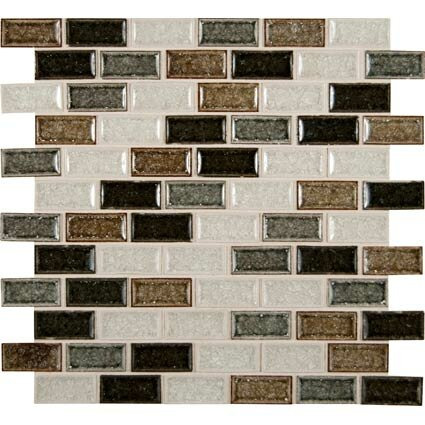 Sandy Beaches Mounted 1 x 2 Glass Mosaic Tile in Multi by MSI