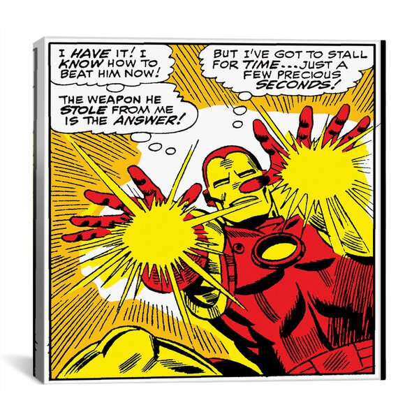 Marvel Comics Book Iron Man Panel Art B Graphic Art on Wrapped Canvas by iCanvas