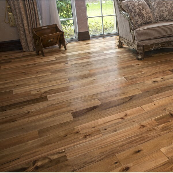Loganne Random Width Solid Acacia Hardwood Flooring in Smooth Chai Beige by Welles Hardwood