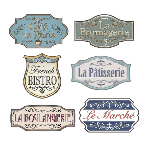 6 Piece French Shop Sign Standup Set (Set of 3) by The Beistle Company