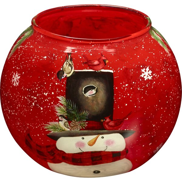 Snowman Hand Painted Glass Votive and Tea Light by Precious Moments
