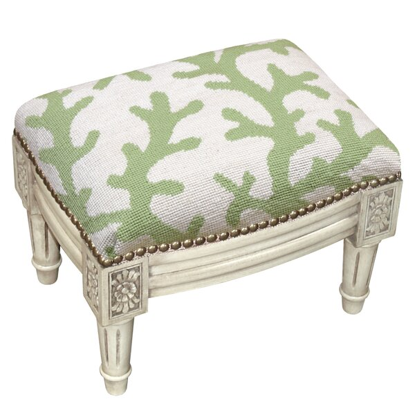 Coral Wool Needlepoint Upholstered Ottoman by 123 Creations
