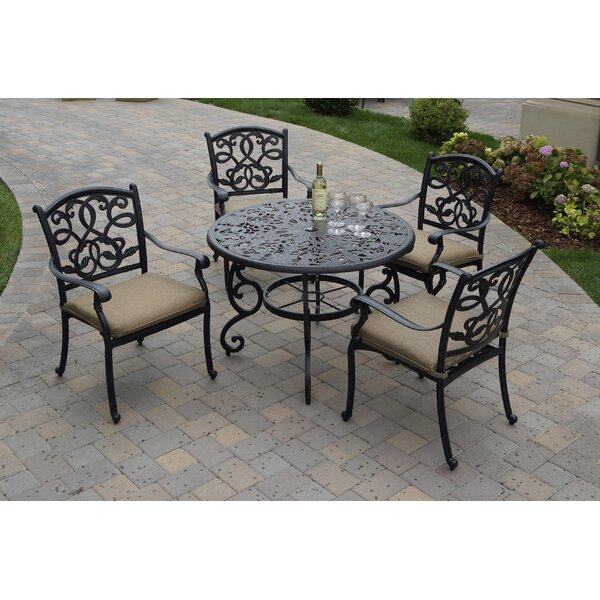 Windley 5 Piece Dining Set with Cushions by Fleur De Lis Living