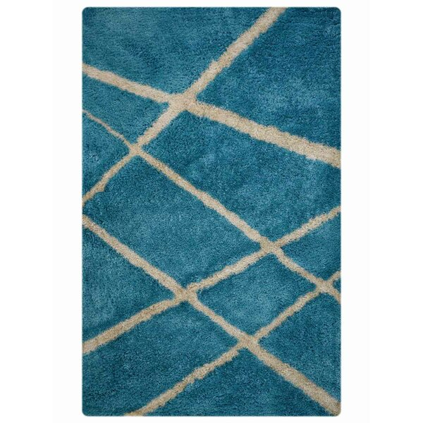 Milana Shaggy Oriental Hand-Tufted Beige/Blue Area Rug by Ebern Designs