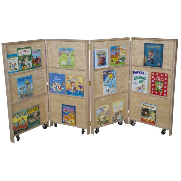 Folding 12 Compartment Book Display with Casters by Wood Designs