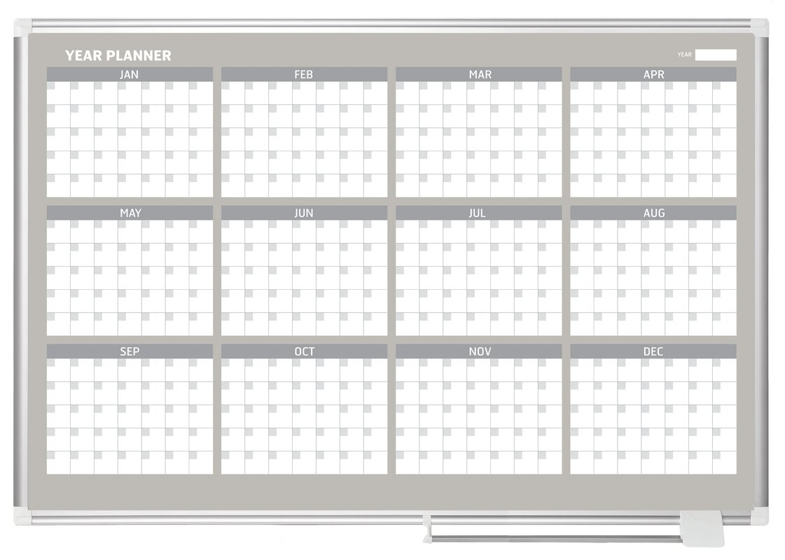 Mastervision 12 Month Calendar Wall Mounted Magnetic