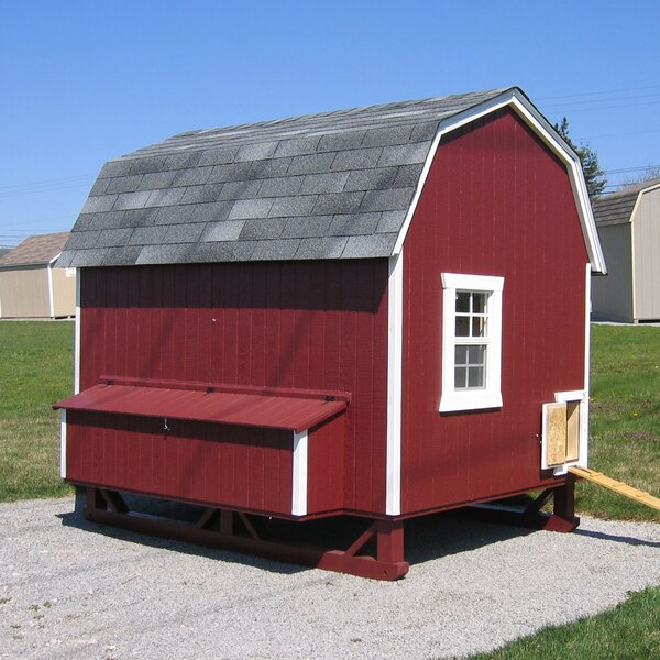 Gambrel Barn Chicken House with Ramp and Nesting B