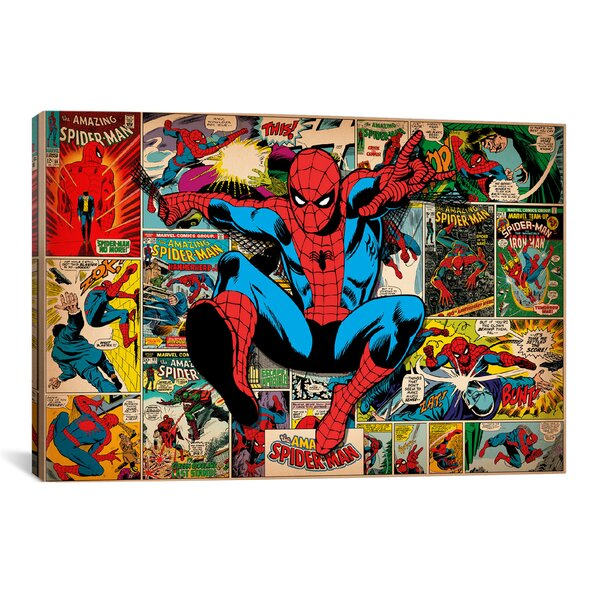 Marvel Comics Book Spider-Man on Spider-Man Covers and Panels Graphic Art on Wrapped Canvas by iCanvas
