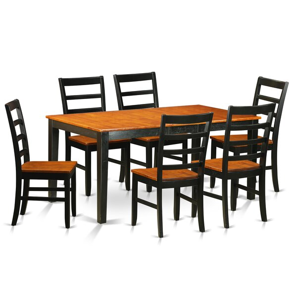 Pillar 7 Piece Wood Dining Set with Rectangular Table Top by August Grove