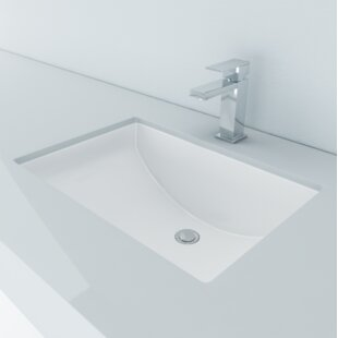 Vitreous China Rectangular Undermount Bathroom Sink with Overflow ByCantrio Koncepts