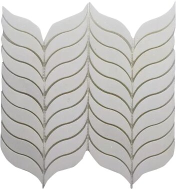 Thassos Feather P. Wall 10.5 x 12 Natural Stone Mosaic Tile in White by Seven Seas