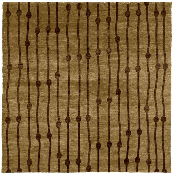 One-of-a-Kind Eske Hand-Knotted Tibetan Brown 6' Square Area Rug