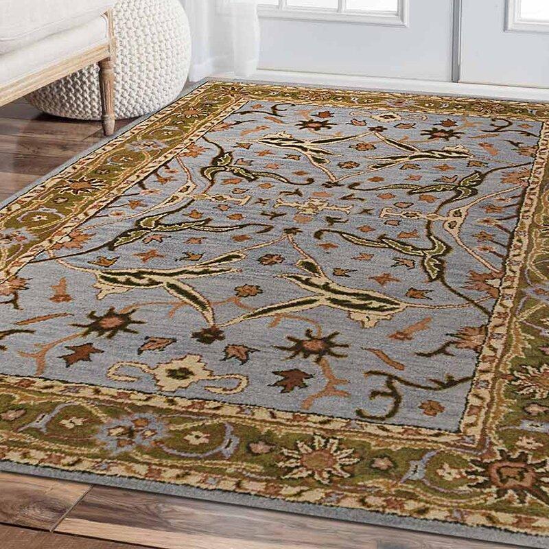 three posts maurer vintage hand-tufted wool blue/green area rug Area Carpets