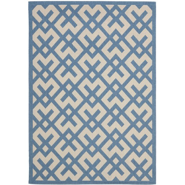 Quinlan Beige/Blue Indoor/Outdoor Rug by Mercury Row