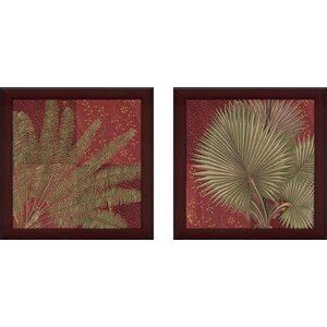 Crimson Palm' 2 Piece Framed Graphic Art Print Set Under Glass by World Menagerie