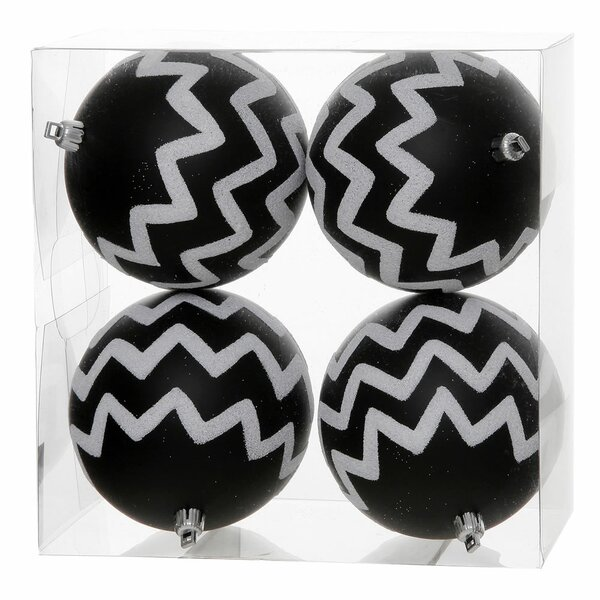 Chevron Glitter Ball Ornament (Set of 4) by The Holiday Aisle