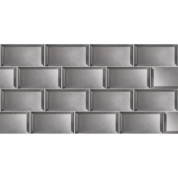 Secret Dimensions 3 x 6 Glass Subway Tile in Glossy Silver by Abolos