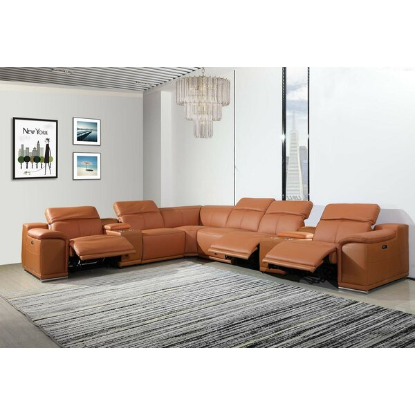 Waldorf Leather Symmetrical Reclining Sectional By Global United