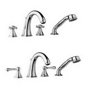 Geneva Double Handle Deck Mounted Roman Tub Faucet with Handshower by GROHE GROHE