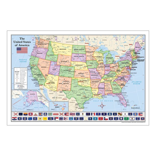 Laminated U.S. Map with State Flags 24\