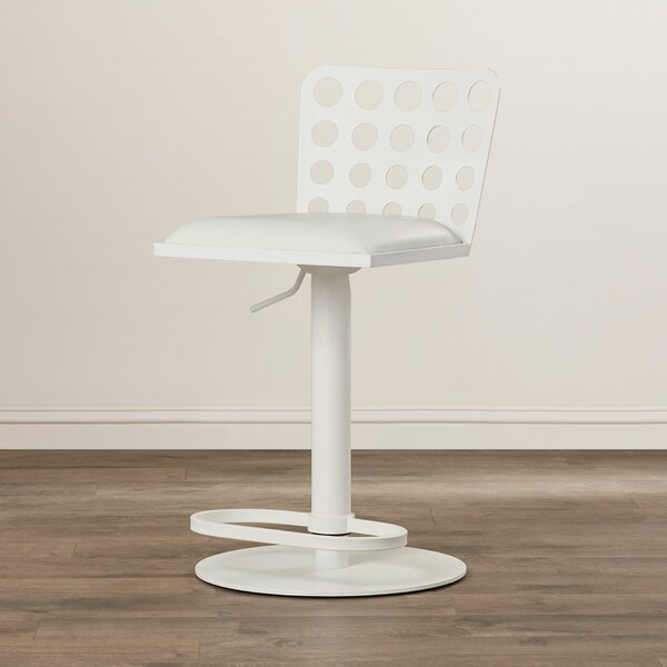 Breit Adjustable Height Swivel Bar Stool by Orren Ellis