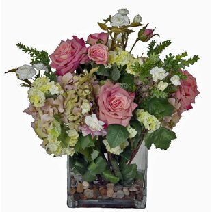 Faux pink flowers in vase wayfair faux pink flowers and succulents in glass vase mightylinksfo