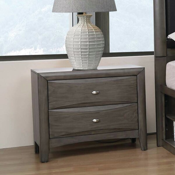 Odion 2-Drawer Nightstand Coco Grey by Red Barrel Studio