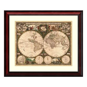 'World Map, 1660' Framed Graphic Art by Three Posts