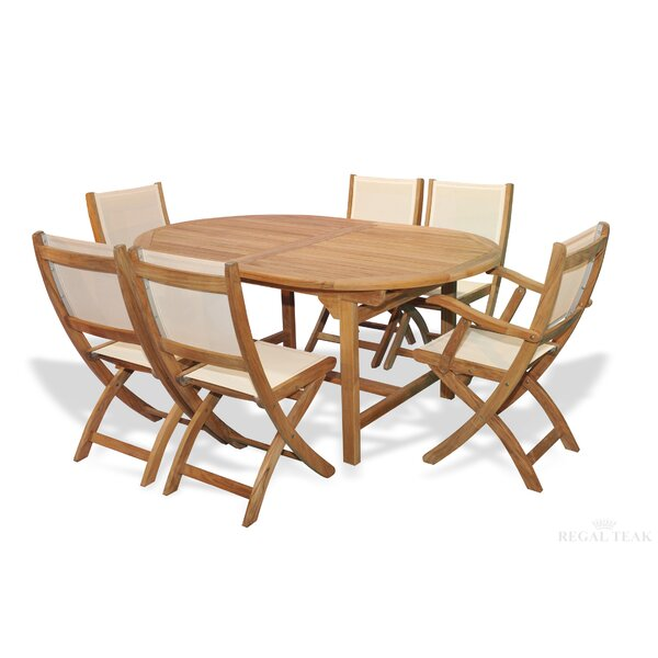 Blue Hill 7 Piece Teak Dining Set with Cooler Insert by Bayou Breeze